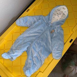 Blue Fleece Pram for baby boy